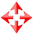 combo arrow four directions red 3d icon vector image
