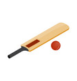 Cricket bat and ball icon isometric 3d style vector image vector image