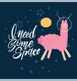 cute pink llama with space helmets in deep blue vector image vector image