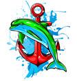 dolphin in water splash watercolor element vector image vector image
