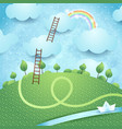 fantasy landscape with ladders and river vector image