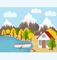 flat landscape in autumn country house with the vector image