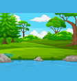 forest scene with many trees and river vector image vector image