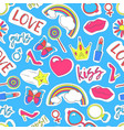 girl patches sticker background pattern on a blue vector image