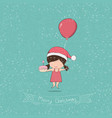 girl with cupcake merry christmas drawing by hand vector image vector image