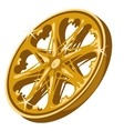 Gold sparkling wheel closeup on white background vector image