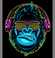 gorilla with headphones vector image