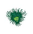 Green Man Head Hair Flowing Leaves Cartoon vector image vector image