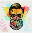 hand drawing hipster skull on artistic vector image vector image