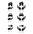 hands house car icons vector image