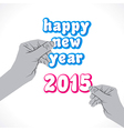 happy new year 2015 label hold in hand vector image vector image