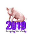 happy new year pig symbol watercolor vector image
