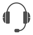 headset solid icon support vector image vector image