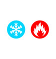 hot and cold icon set on white vector image