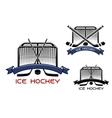 Ice hockey game sports symbols vector image