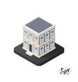 Isometric townhouse icon building city vector image