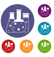laboratory flasks icons set vector image vector image