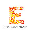 letter e logo with orange yellow red particles vector image