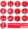 Makeup icons on red vector | Price: 1 Credit (USD $1)