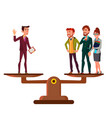 man versus group of people stand on scales in vector image