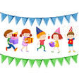 Many children holding presents at party vector image vector image