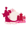 old paper with geisha silhouette on abstract Asian vector image vector image