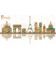 paris france city skyline with color landmarks vector image vector image