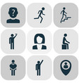 people icons set with anonymous human in love vector image