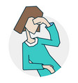 person dizzy and headache vector image vector image