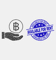pixel hand offer bitcoin icon and grunge vector image vector image