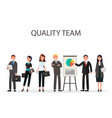 quality team of managers with diagrams on placard vector image vector image