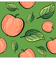 Red apples and apple leaves on green background vector image