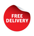 red sticker and text free delivery vector image