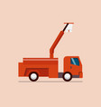red truck with crane vector image vector image
