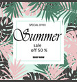 sale banner poster with palm leaves vector image vector image
