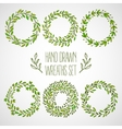 set hands drawn decorative wreaths vector image