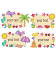 set isolated summer frames vector image vector image