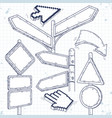set of empty pointers arrows and road signs vector image