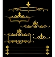 Set of golden royal frames and borders black vector image