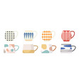 set various tea or coffee cups side view mugs vector image