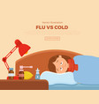 sick girl in bed with the symptoms of cold flu vector image