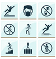 sign icons set with not running stop staircase vector image