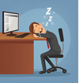 sleeping happy smiling office worker man vector image vector image