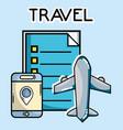 smartphone gps navigation pin plane tourist vector image