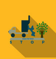 the machine throws rubbish under a tree text stop vector image