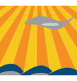 The plane flies over the waves vector image vector image