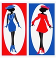 two ladies in blue and red dresses vector image vector image