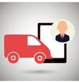 van shipping online store vector image