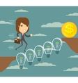 Woman runs over a Lightbulbs bridge vector image