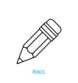 wooden pencil with eraser outline icon vector image vector image